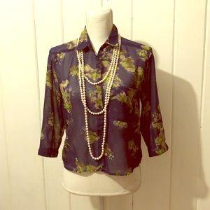 Vintage Sheer Floral Blouse- Size Medium